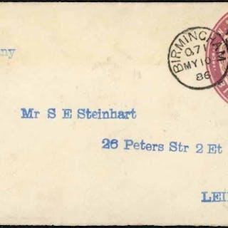 W & T AVERY/BIRMINGHAM:2½d claret stamp 10a dated 17 12 85 e...
