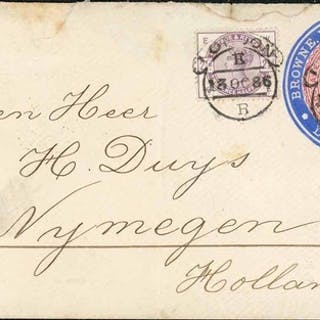 BROWNE ROSENHEIM & CO:13 Oct 1886 2½d claret stamp 10a dated...