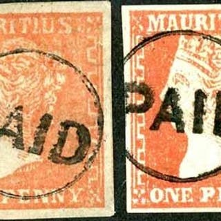 1859 Dardenne litho 1d Red & Dull Vermilion, three of four m...