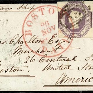 EMBOSSED FRANKING TO USA; 13 Nov. 1856 mourning env. (small ...