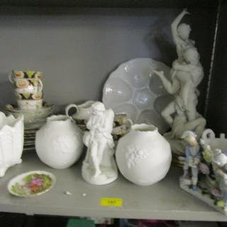 Mixed ceramics to include bisque figure groups, a part tea s...
