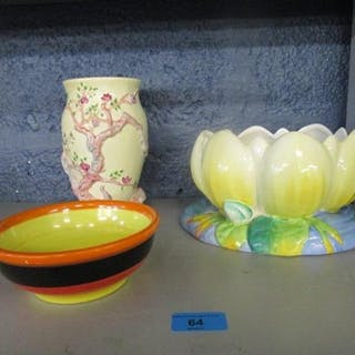 Clarice Cliff to include a Waterlily bowl, a Cherry Tree des...