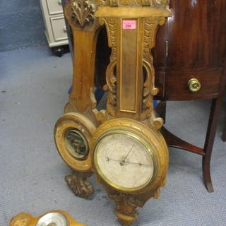 Three barometers to include an early 20th century oak cased ...