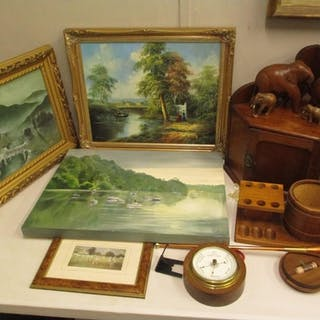 Pictures and treen to include Rich-an Estuary scene with boa...