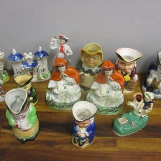 19th Century Staffordshire figures and Toby jugs to include ...
