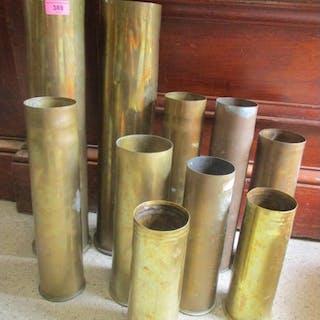 Ten WW1 artillery shells German and Belgian