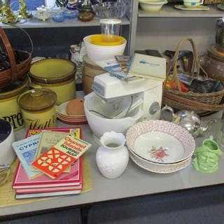 A mixed lot of household items to include stone pots, a teap...