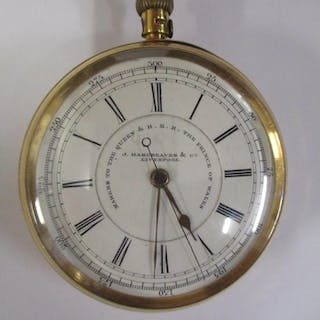 An 18ct gold cased, open faced, self wind chronograph pocket...