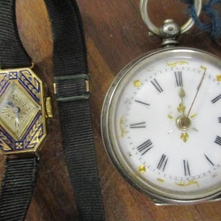 An 18ct gold and enamelled cocktail watch and a continental ...