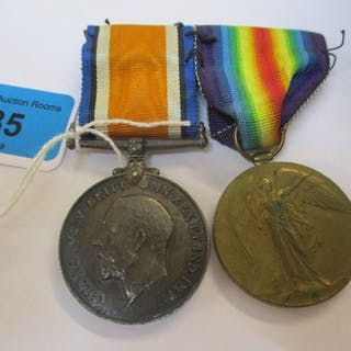 A WW1 two medal campaign group comprising the British War Me...