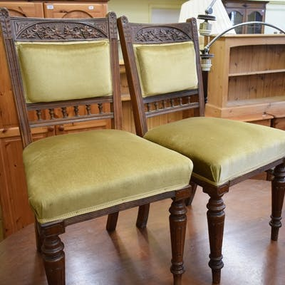 A set of six late Victorian mahogany dining chairs, with car...
