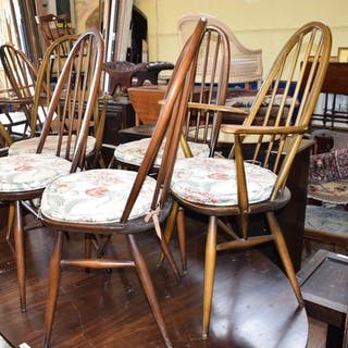 A set of six Ercol beech dining chairs (4+2)