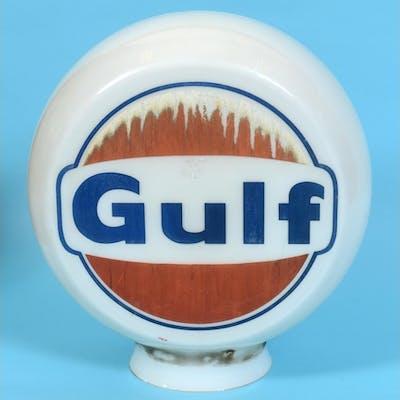 A Gulf circular glass petrol pump globe, approx. 38 cm diame...