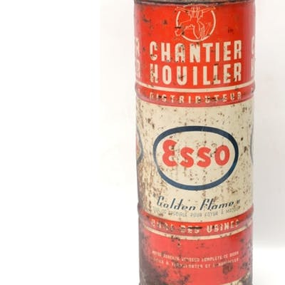 A French ESSO tall cylindrical petrol can, 48 cm tall See il...