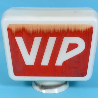 A VIP glass petrol pump globe, 42 cm wide See illustration