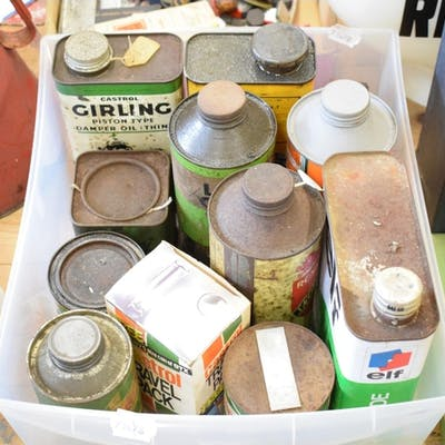 Assorted oil and other tins, by various retailers including ...