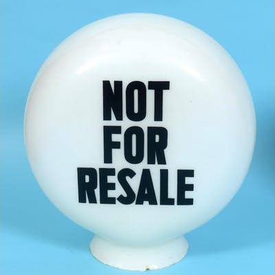A circular glass petrol pump globe, Not for Resale, approx 3...