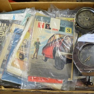 Two classic car dashboard clocks, assorted car manuals and b...