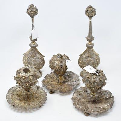 An Indian pair of silver coloured metal filigree work rosewa...