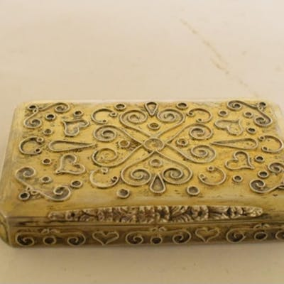A silver gilt coloured metal box, with wirework decoration, ...