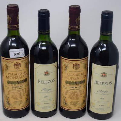 Two bottles of Palacio De Monsalud, 1994, and two bottles of...