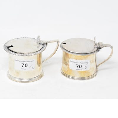 A George III style silver mustard pot, Sheffield 1930, and a...