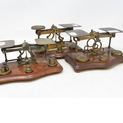 Three sets of postal scales, a silver backed dressing table ...