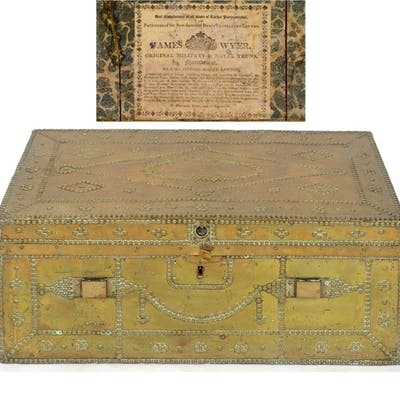 An early 19th century brass mounted travelling trunk, with s...