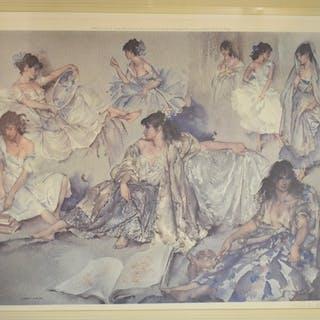 A Sir William Russell Flint coloured print, of ladies in var...