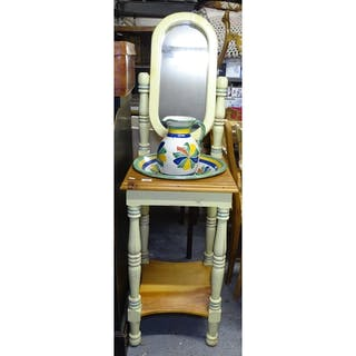 A painted pine washstand with swing mirror, a Mexican potter