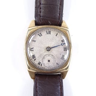 A Vintage 9ct gold cased Rolex wristwatch, with cushion case...