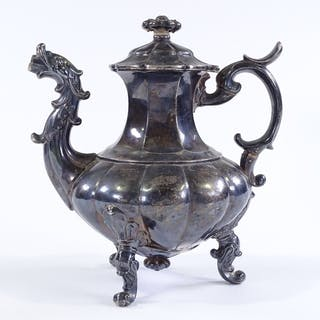 A French? silver chocolate pot of bulbous form, with gurgle ...