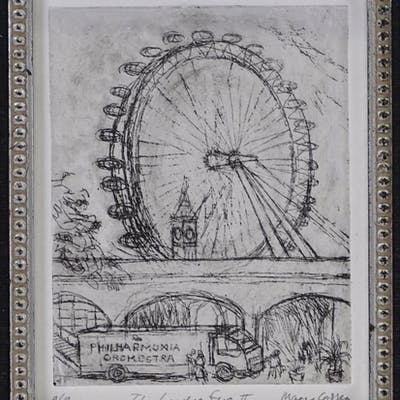 Mary Cossey, pair of etchings, London scenes, signed in penc...