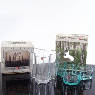 Alvar Aalto, clear glass vase, height 9.5cm, and a Savoy pat...