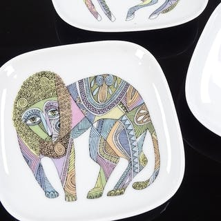 Cuno Fischer for Rosenthal, 3 square dishes with abstract an...