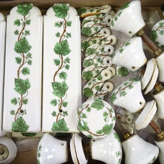 A collection of French porcelain door furniture, including 6...
