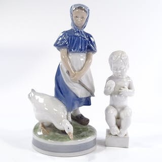 A Royal Copenhagen goose girl, height 23cm, and a B&G Copenh...