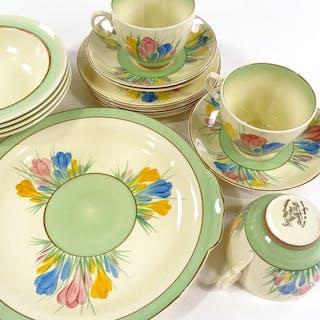 A Royal Staffordshire Clarice Cliff Crocus pattern part tea ...
