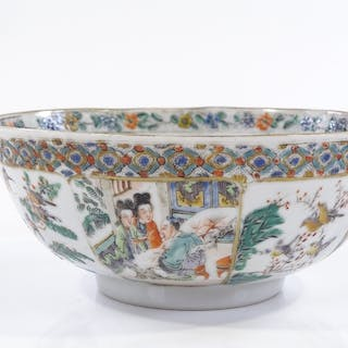 A Chinese famille vert porcelain bowl, hand painted figures ...