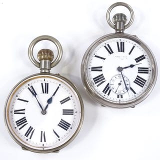 2 nickel-cased Goliath pocket watches, with Roman numeral ho...