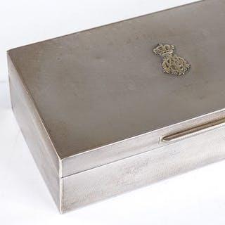 An Asprey & Co Ltd rectangular silver cigarette box, present...