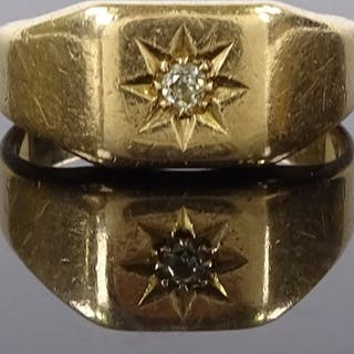 An 18ct gold diamond signet ring, with central starburst pan...
