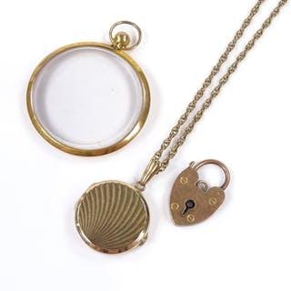 A Georg Jensen 9ct gold photo locket, on unmarked gold chain...
