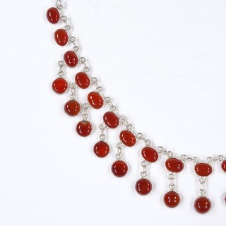 A sterling silver and cabochon carnelian collar necklace, le...