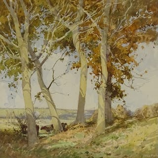 Tatton Winter RBA (1855 - 1928), watercolour, cattle shading...