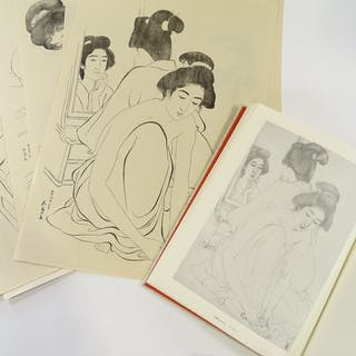 Hashiguchi Goyo (1880 - 1921), folder of female nude prints,...