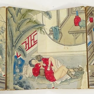 A book of Japanese erotic watercolours on paper, book height...