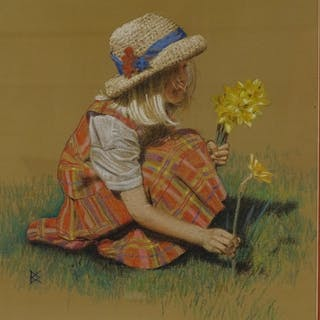2 pastel/chalk drawings, studies of children, signed with mo...