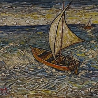Follower of Vincent Van Gogh, oil on board, fishing boats, 1...