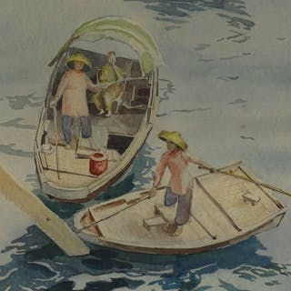 W Breitling, watercolour, Chinese boats, inscribed Aberdeen ...
